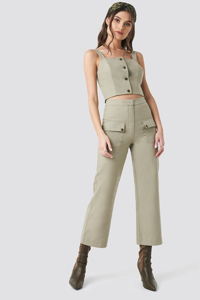 Linen Look Button Up Top Green Outfit
