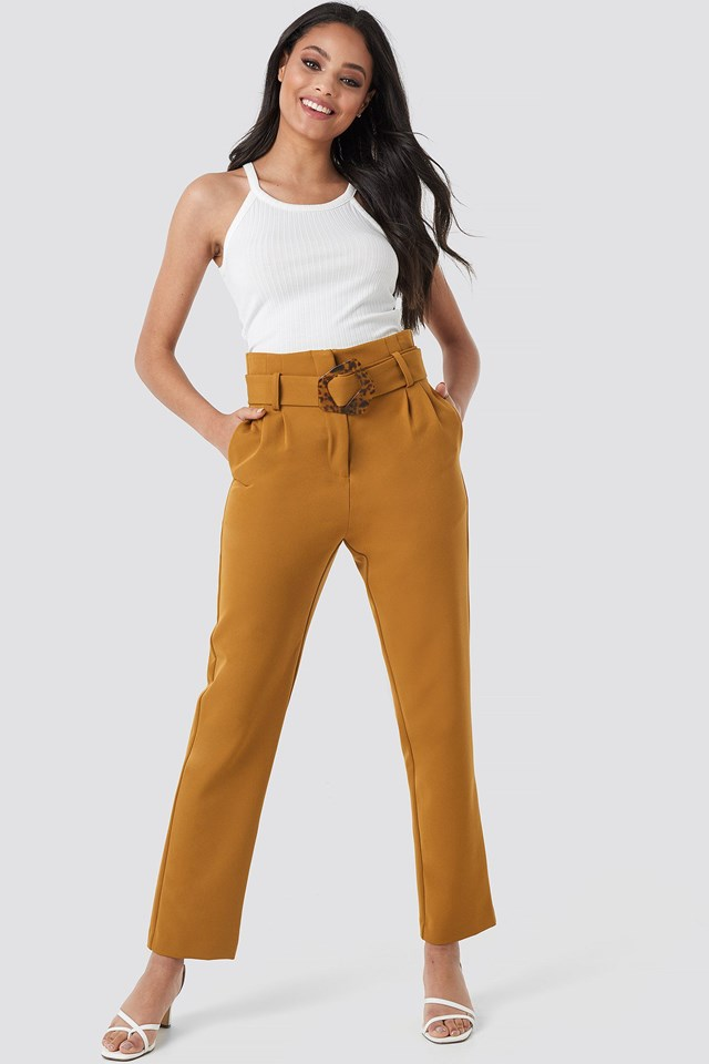 High Waist Asymmetric Belted Pants Outfit.