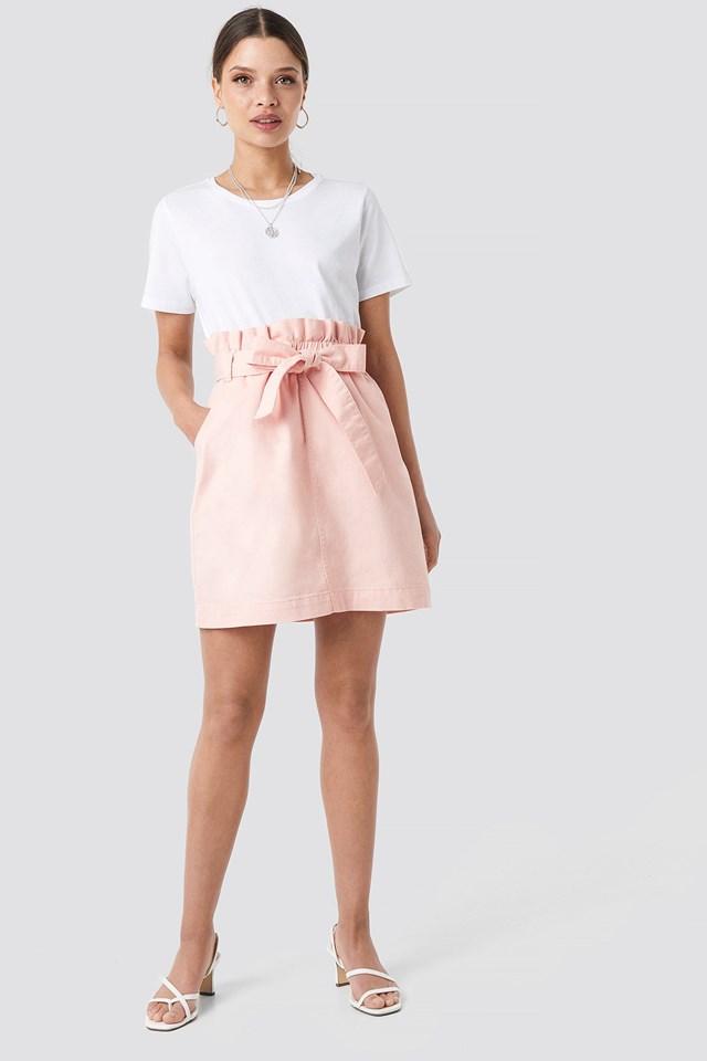 Paper Bag Waist Denim Skirt Outfit