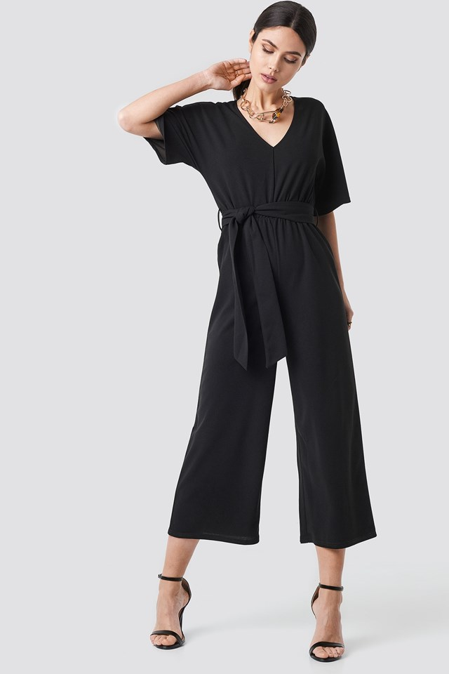 V-neck Wide Leg Jumpsuit Outfit.