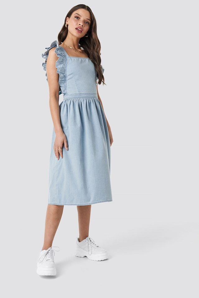 Ruffle Denim Pinafore Dress Blue Outfit