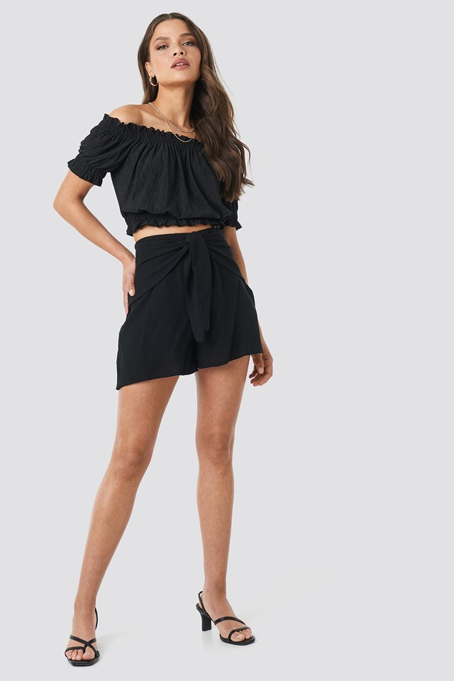 Viscose Waist Bound Shorts Outfit.