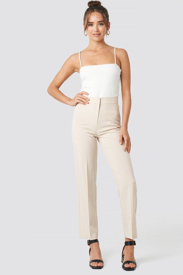 Cropped Straight Suit Check Pants Outfit.