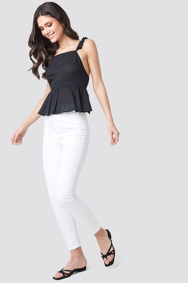 Back Focus cotton Top Outfit
