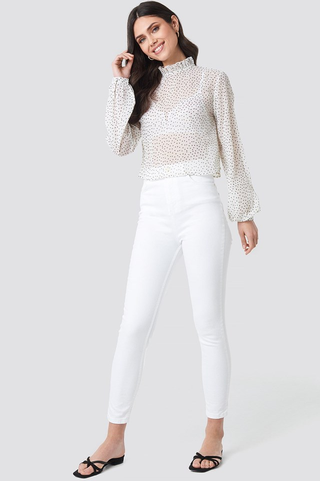 High Neck Dotted Blouse Outfit.