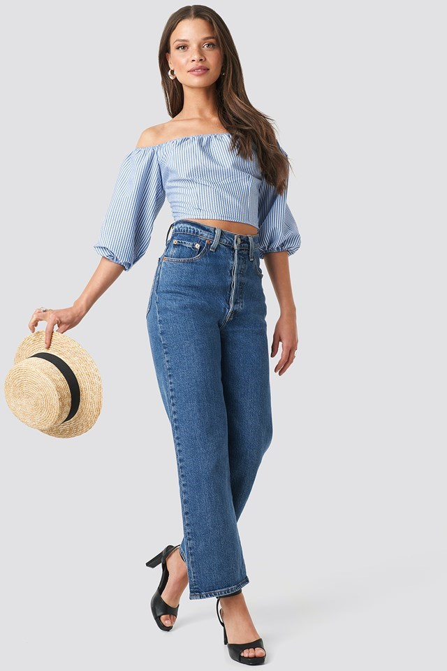 Off Shoulder Crop Stripe Top Outfit.