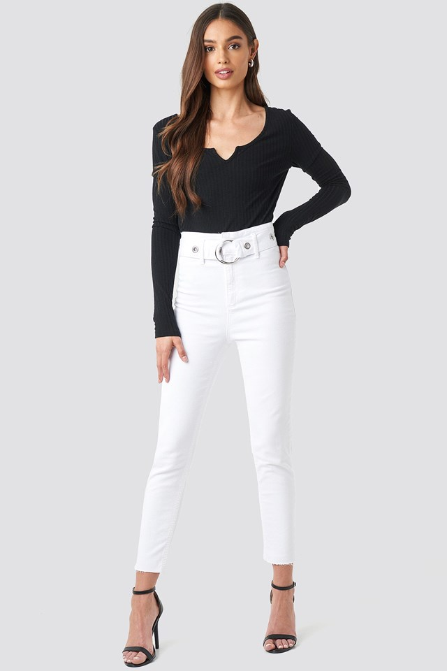 Milla High Waist Slim Fit Jeans Outfit.