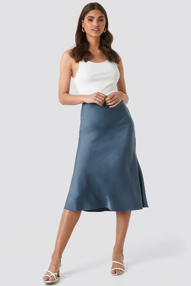 Satin Skirt Blue Outfit