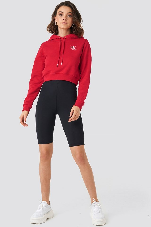 Monogram Embroidery Hoodie Red Outfit
