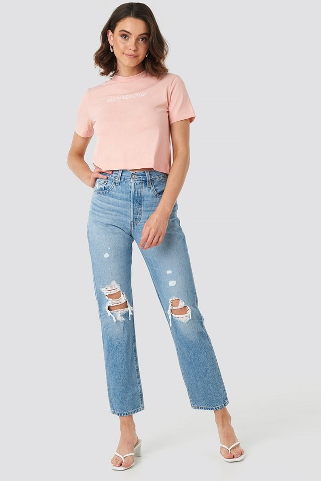 Shrunken Instit Crop Tee Pink Outfit