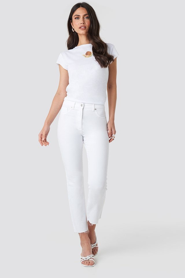 Angel Raw Edge Tee White Outfit