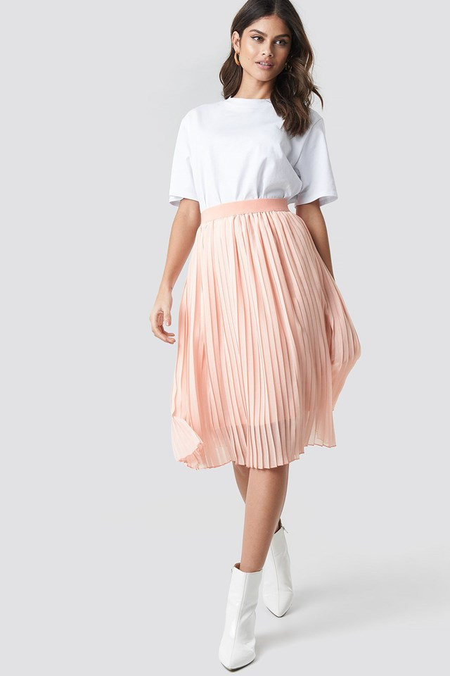 Midi Pleated Skirt Pink Outfit