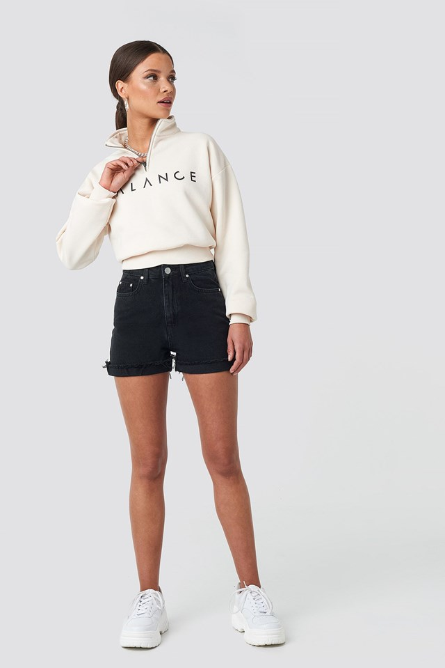 High Waist Denim Shorts Black Outfit