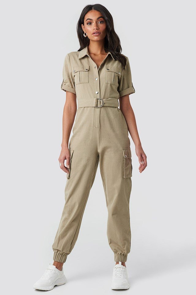 Belted Cargo Jumpsuit Green Outfit