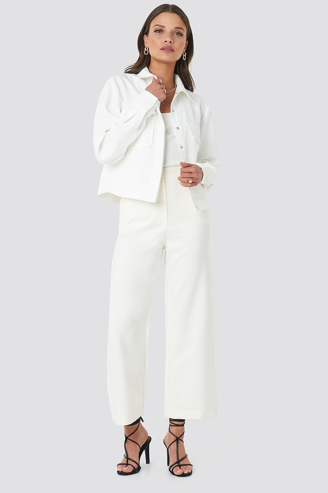 Front Pocket Jacket White Outfit