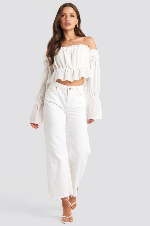 Long Sleeve Bardot Frill Tiered Crop Top White Outfit