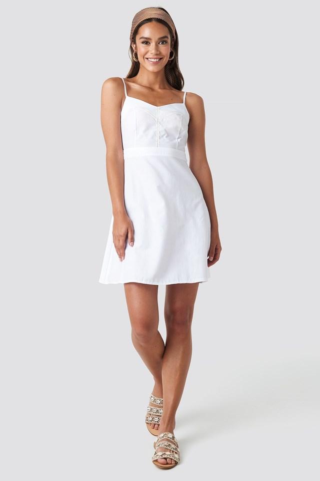 Lace Insert Mini Dress White Outfit