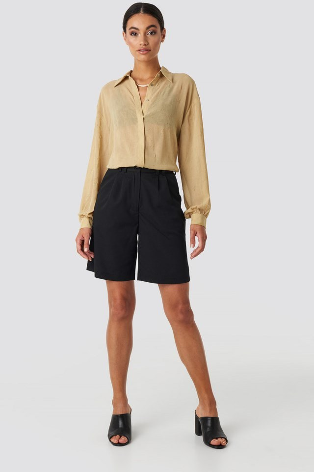 Sheer Wrinkle Effect Blouse Beige Outfit