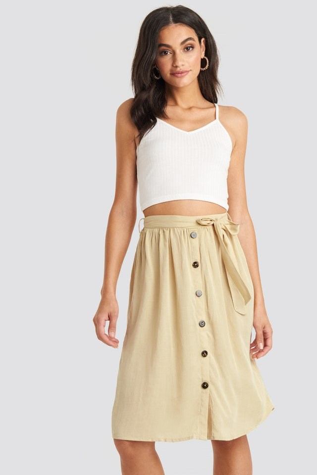 Midi Button Front Skirt Beige Outfit