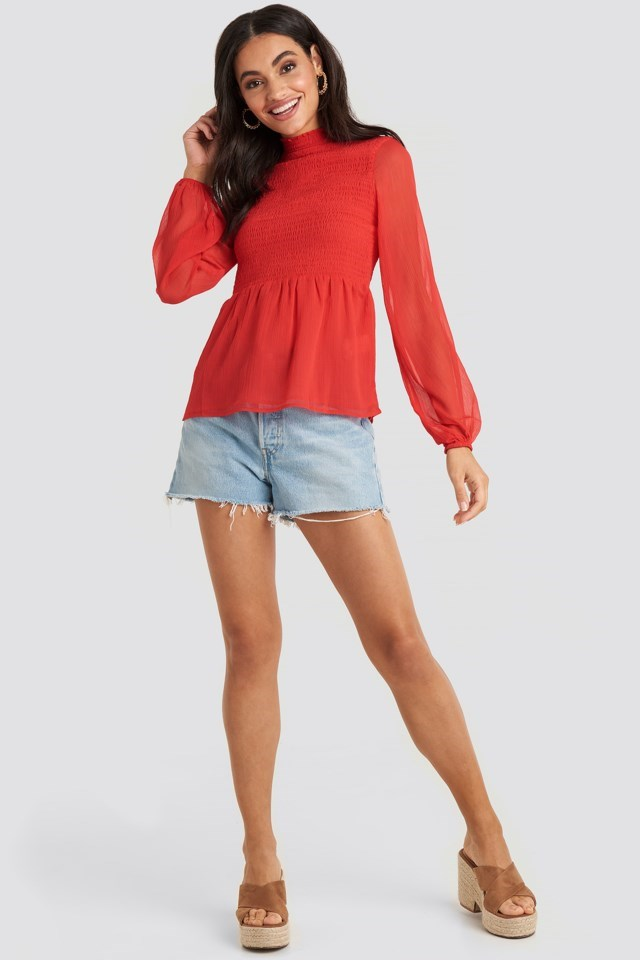 Shirred High Neck Blouse Red Outfit