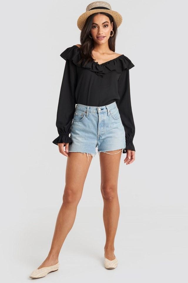 Slip Shoulder Flounce Blouse Black Outfit