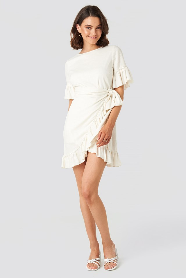 Linen Mix Frill Detailed Dress White Outfit