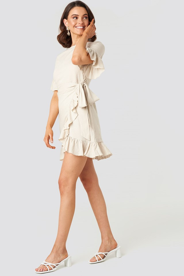 Linen Mix Frill Detailed Dress Beige Outfit