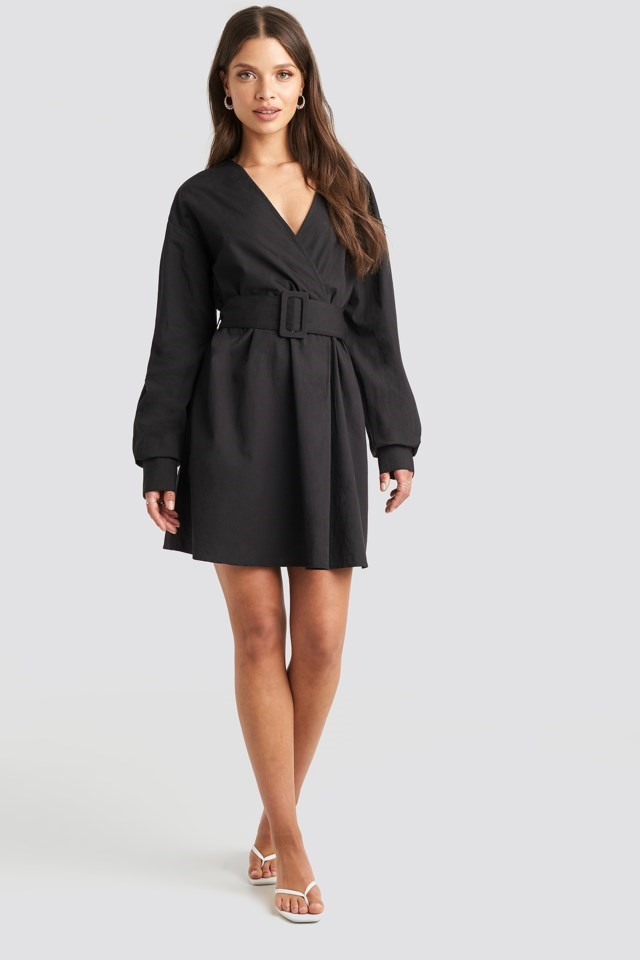 Belted Long Sleeve Shirt Dress Black Outfit