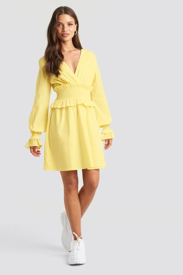 Smocked Detailed Mini Dress Yellow Outfit