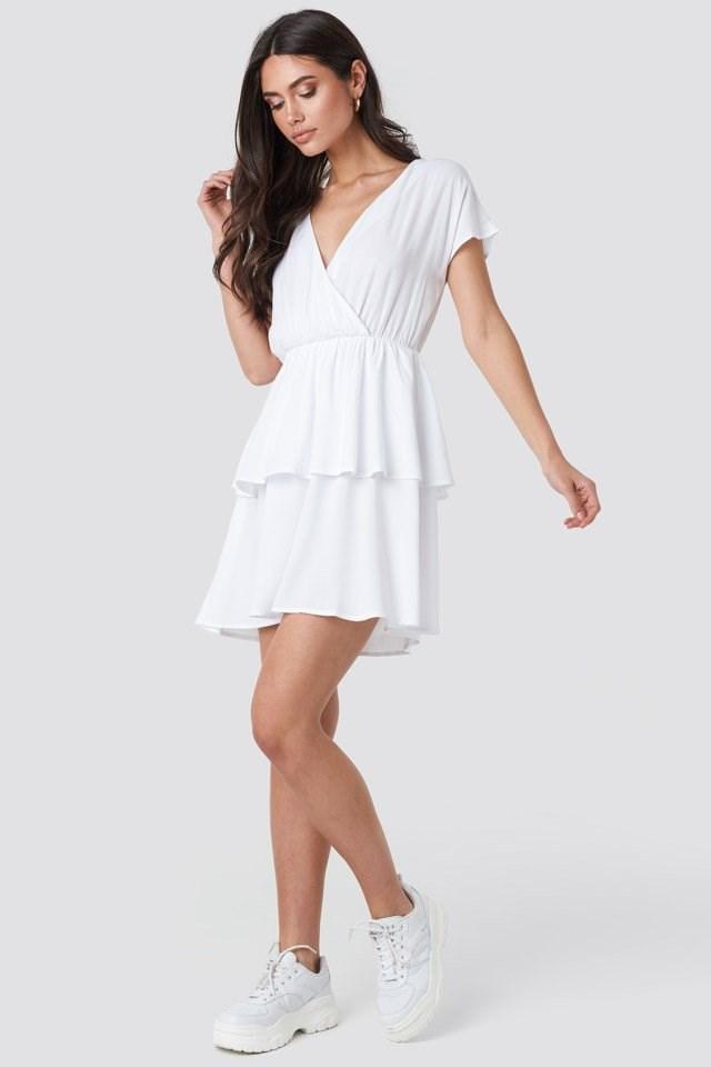 Waist Detail Mini Dress White Outfit