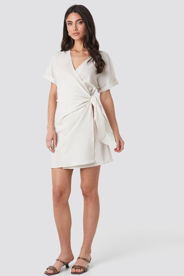 Overlap Knot Mini Dress Beige Outfit