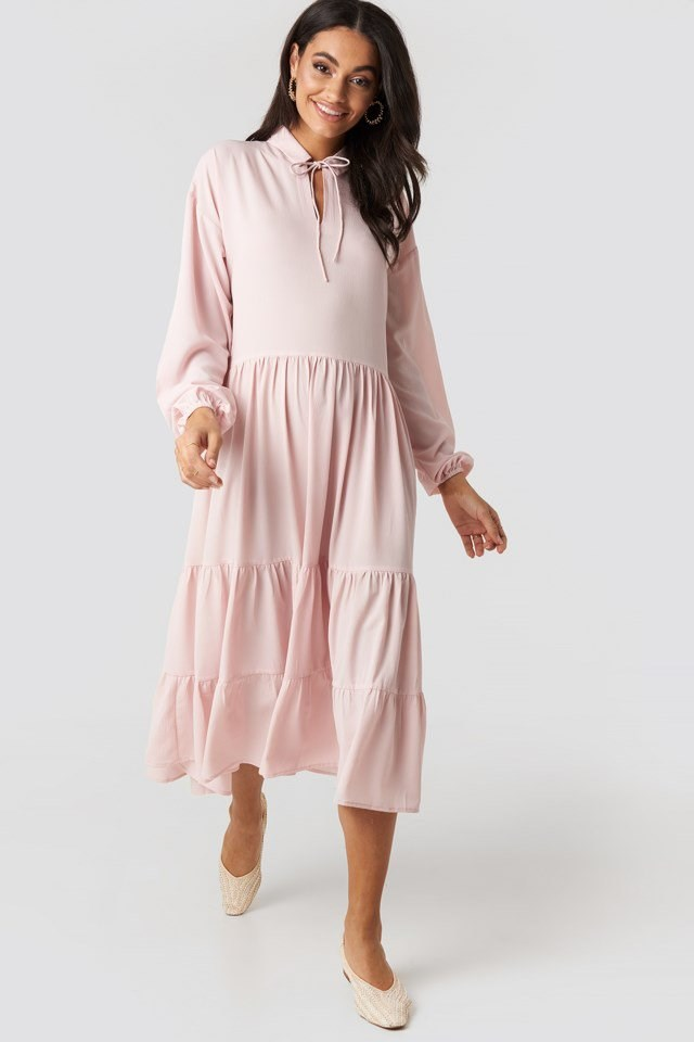 Tiered Detail Balloon Sleeve Dress Pink Outfit