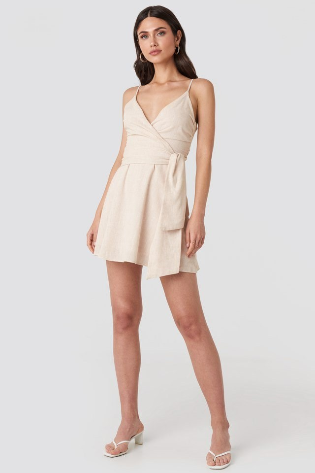 V-neck Wrap Mini Dress Beige Outfit