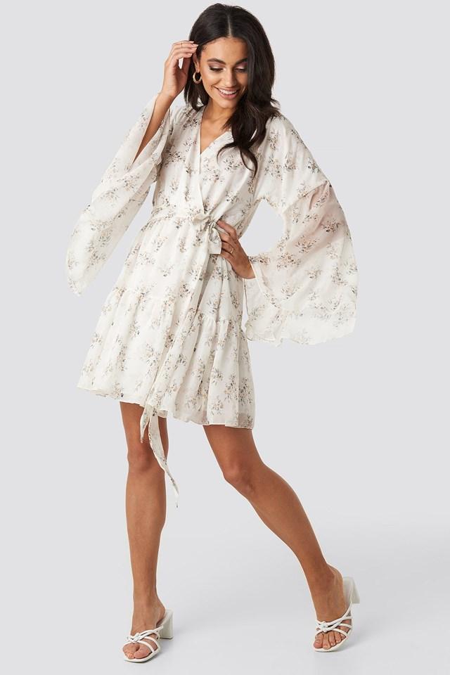 Wide Sleeve Mini Dress White