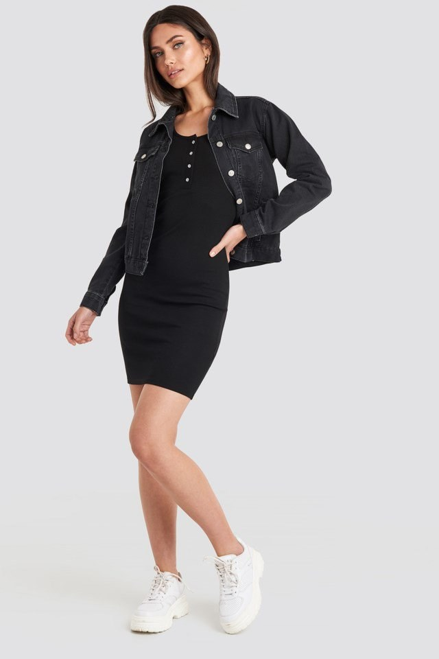 Ribbed Buttoned Dress Black Outfit