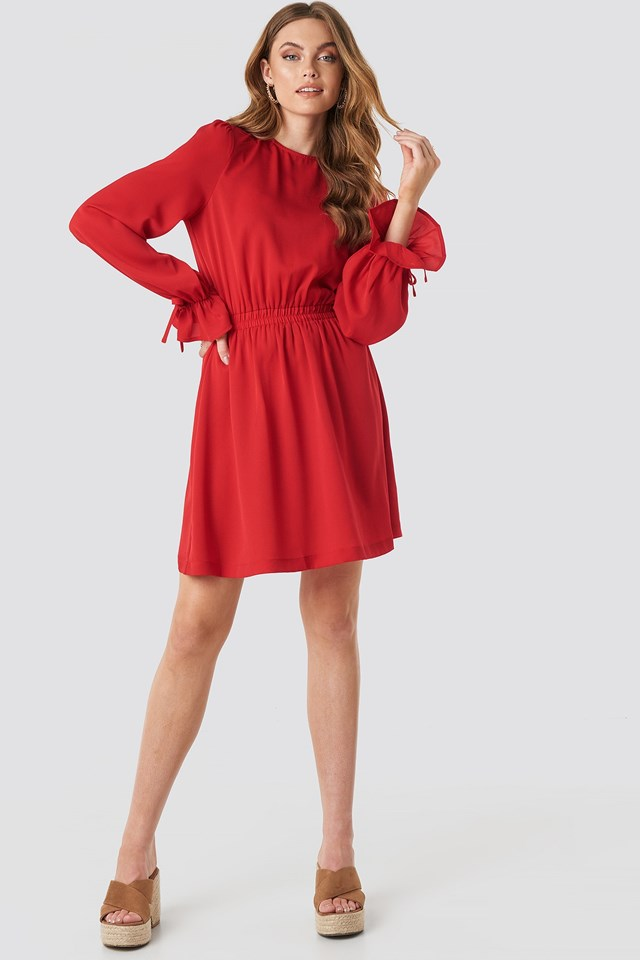 Open Back Flounce Detail Dress Red