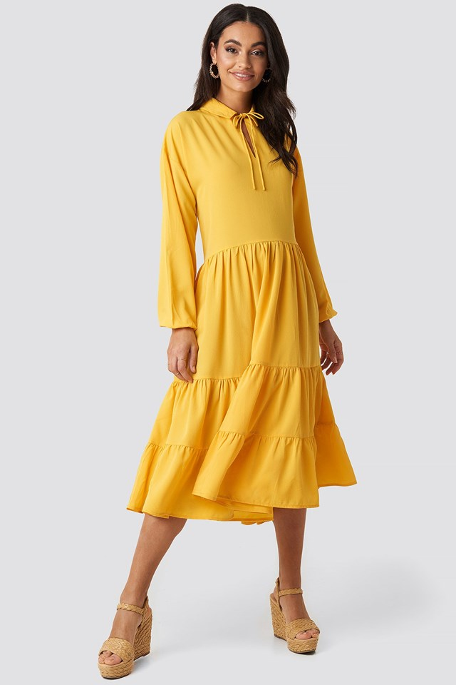 Tiered Detail Balloon Sleeve Dress Yellow