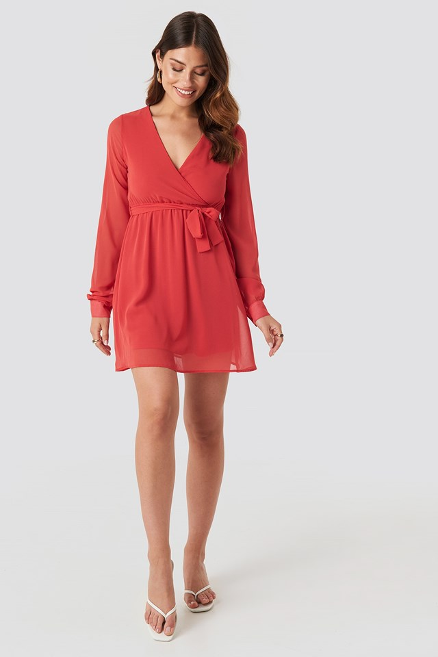 Chiffon Wrap Mini Dress Red