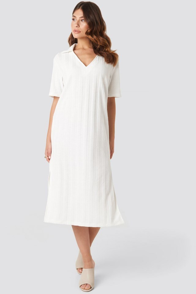 Collar V Front Knitted Dress White Outfit