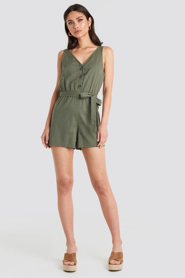 Button Front Tie Waist Playsuit Green Outfit