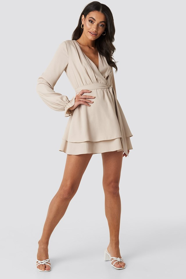 V-Neck Tied Front Flowy Dress Beige