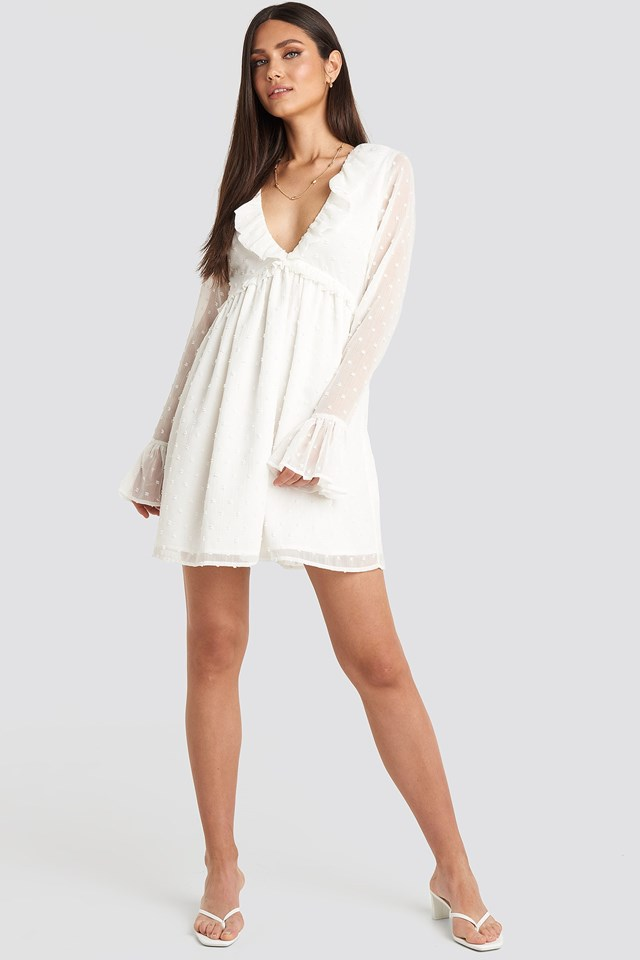 Frill Detail LS Dress White Outfit