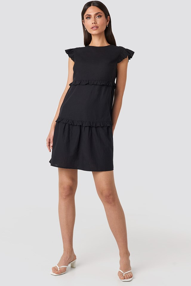 Deep Back Flounce Mini Dress Black Outfit