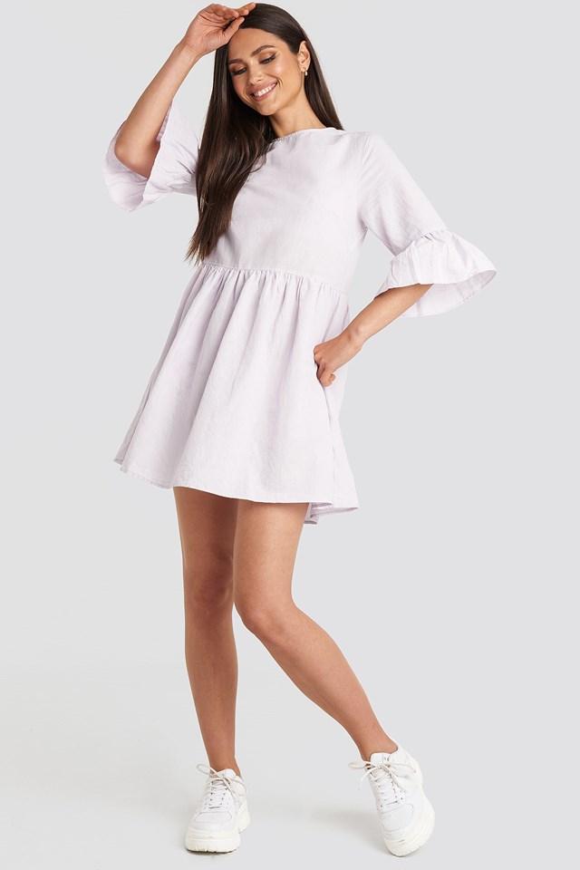 Flounce Mini Dress Purple Outfit