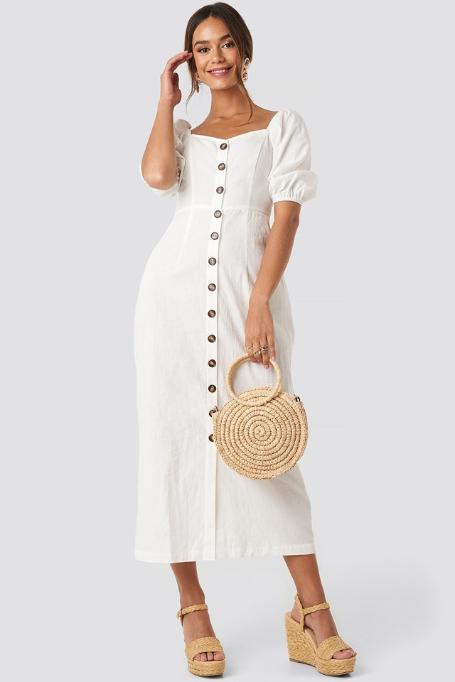 Puff Sleeve Cotton Dress White Outfit