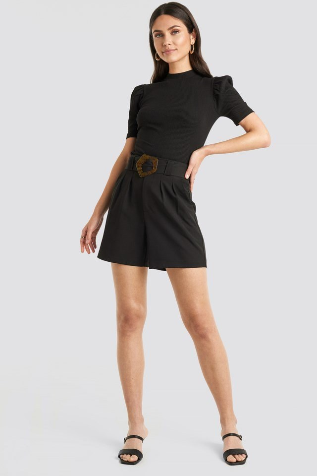 Short Puff Sleeve High Neck Ribbed Top Black Outfit