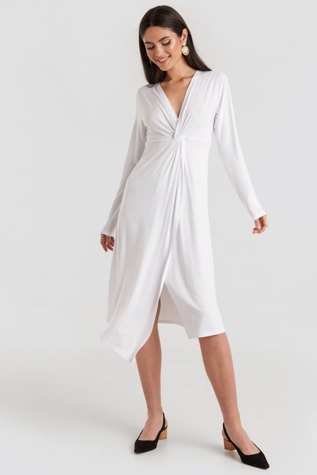 Twist Front Midi Dress White Outfit