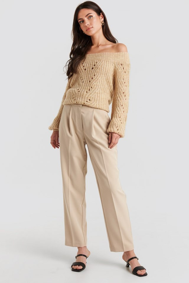 Off Shoulder Pointelle Knitted Sweater Beige Outfit