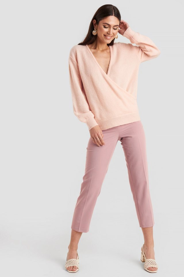 V-Neck Overlap Knitted Sweater Pink Outfit