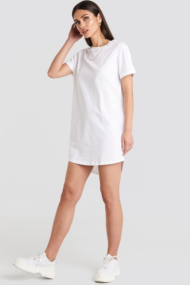 Uneven Hem Oversized T-shirt Dress White Outfit